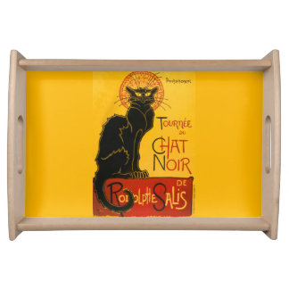 Vintage Black Cat Art Nouveau Paris Cute Chat Noir Serving Tray