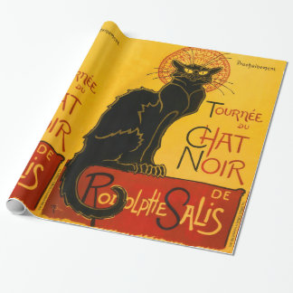 Vintage Black Cat Art Nouveau Paris Cute Chat Noir Wrapping Paper