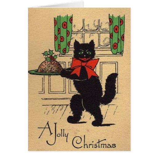 Vintage Black Cat Christmas Greeting Card