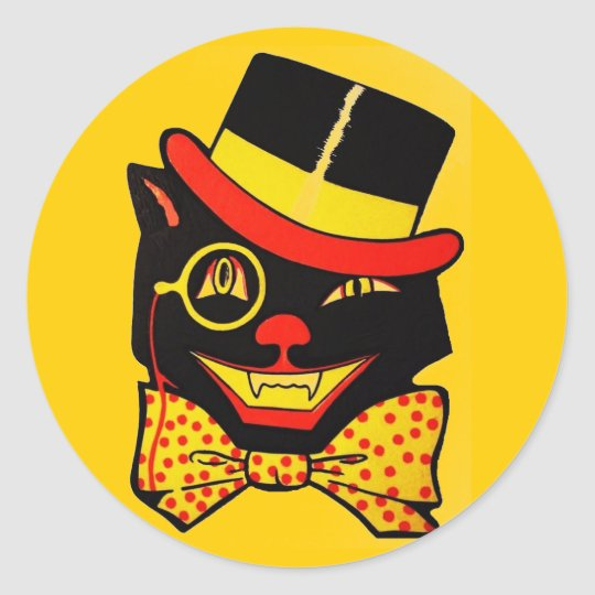 Vintage Black Cat Classic Round Sticker