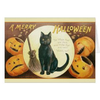 Vintage Black Cat Halloween Greeting Card