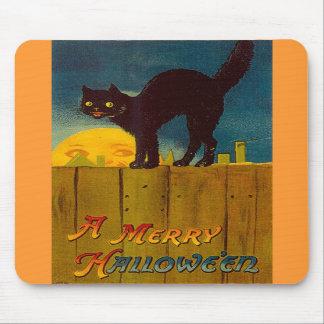 Vintage Black Cat Halloween Mouse Pads
