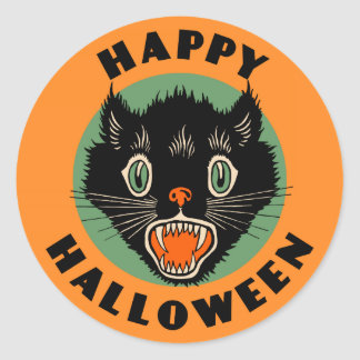 Vintage Black Cat - Happy Halloween Sticker