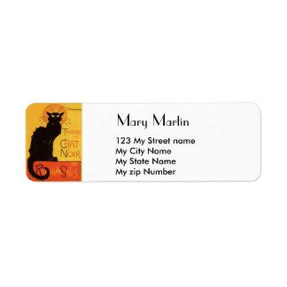 Vintage Black Cat Label, Return Address Label