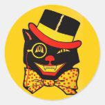 Vintage Black Cat Round Sticker