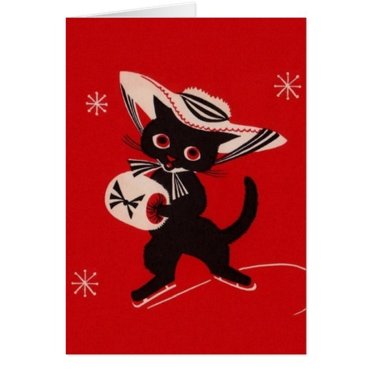 Vintage Black Cat Skater Greeting Card