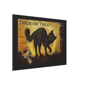 Vintage Black Cat Trick or Treat Humorous Print Stretched Canvas Prints