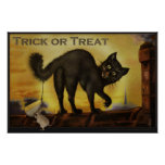 Vintage Black Cat Trick or Treat Humourous Poster