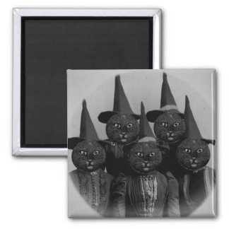 Vintage Black Cat/Witches Square Magnet