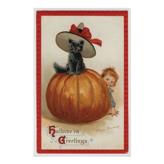 Vintage Black cat with a Witch Hat Poster