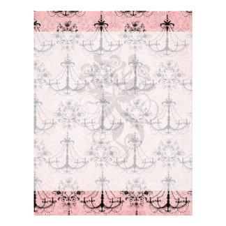 vintage black chandelier damask on lovely pink flyers