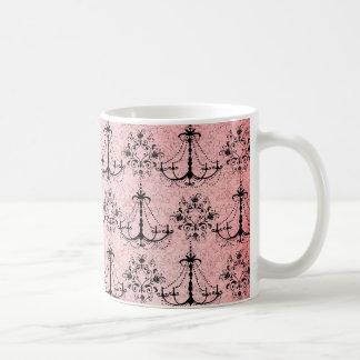 vintage black chandelier damask on lovely pink classic white coffee mug