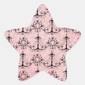 vintage black chandelier damask on lovely pink star sticker