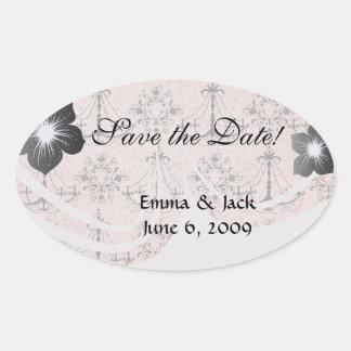 vintage black chandelier damask on lovely pink oval sticker