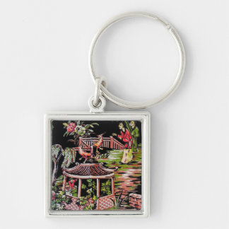 Vintage Black Chinoiserie Fabric Keychain