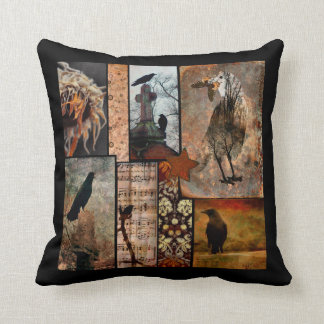Vintage Black Crow Flower Collage Throw Pillow