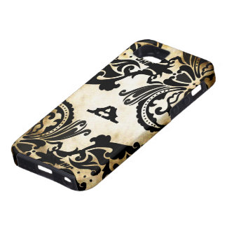 Vintage Black Damask Personalised iPhone 5 Case