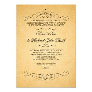 Vintage Black Damask Swirls Flourish Wedding 13 Cm X 18 Cm Invitation Card