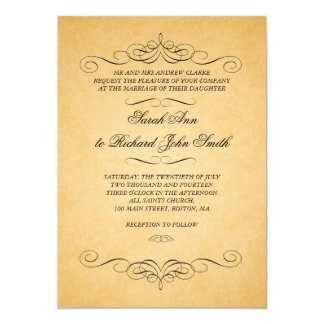 Vintage Black Damask Swirls Flourish Wedding Card