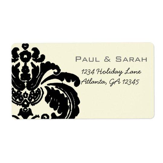 Vintage Black Damask Wedding Lable Shipping Label