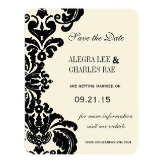 Vintage Black Damask Wedding Save the Date 11 Cm X 14 Cm Invitation Card