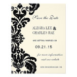 Vintage Black Damask Wedding Save the Date Personalized Announcement