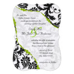 Vintage Black Damask with Apple Green Vines Personalized Invitations