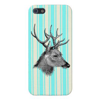 Vintage Black Deer Girly Teal White Stripes iPhone 5 Covers