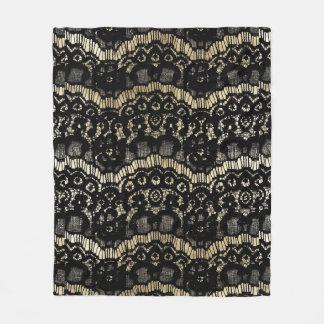 Vintage black elegant french floral lace faux gold fleece blanket