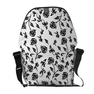 Vintage Black Floral Pattern on White Commuter Bag
