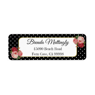 Vintage Black Floral Polka Dots Return Address