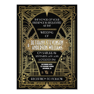 Vintage Black & Gold Art Deco Wedding Invitations
