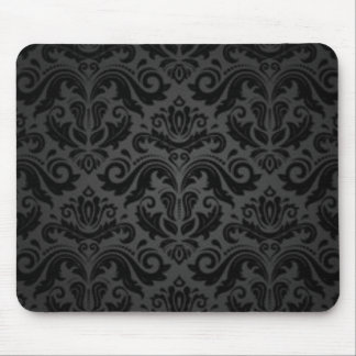 Vintage Black & Gray Damask Mouse Pad