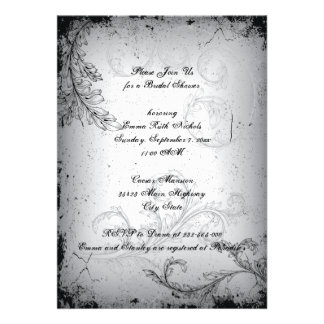 Vintage black grey scroll leaf bridal shower custom announcement