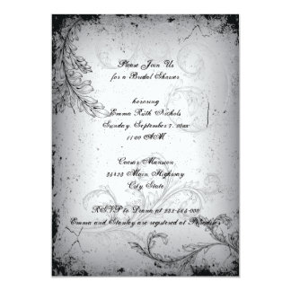 Vintage black grey scroll leaf bridal shower custom announcement