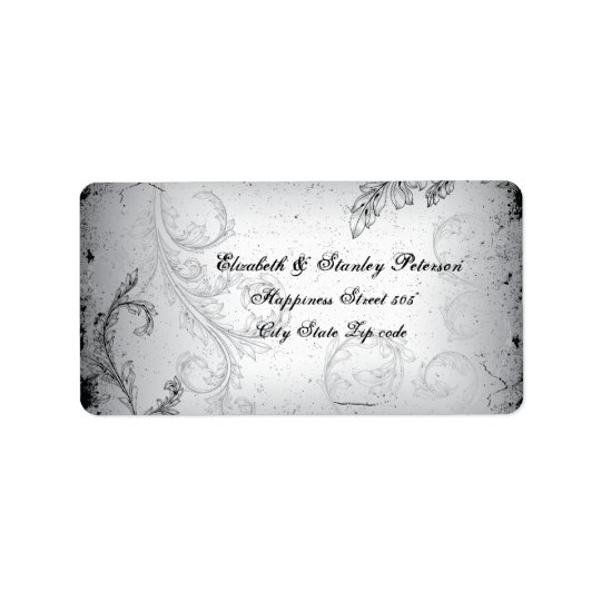 Vintage black grey scroll leaf wedding label