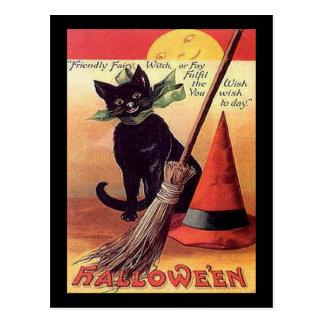 Vintage Black Halloween Cat Card Postcard