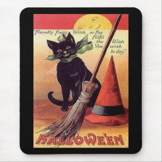Vintage Black Halloween Cat Mousepads