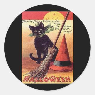 Vintage Black Halloween Cat Round Sticker