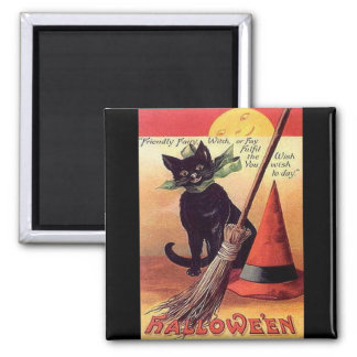 Vintage Black Halloween Cat Square Magnet