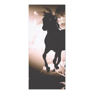 Vintage, black horse silhouette 10 cm x 24 cm invitation card