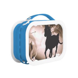 Vintage, black horse silhouette lunch box