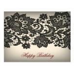 Vintage black Lace  beige Paris Fashion Post Cards
