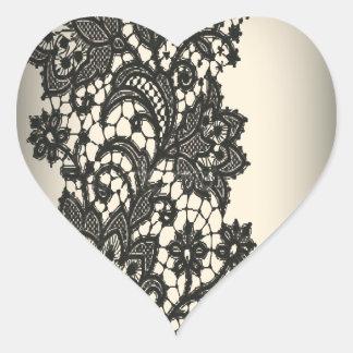 Vintage black Lace  beige Paris Fashion Stickers