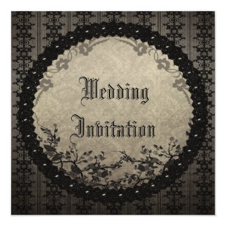 Vintage Black Lace & Sequins Gothic Wedding 13 Cm X 13 Cm Square Invitation Card