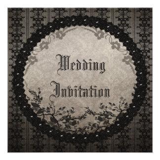 Vintage Black Lace Sequins Gothic Wedding Invites