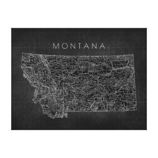 Vintage Black Montana Map Canvas Print