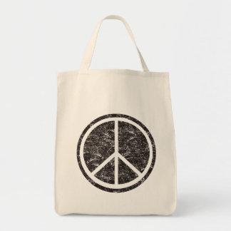 Vintage Black Peace Sign Grocery Tote Bag
