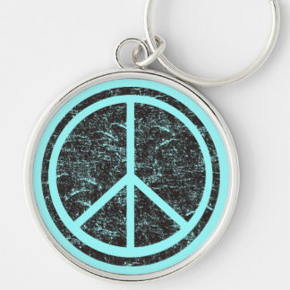 Vintage Black Peace Sign Silver-Colored Round Key Ring