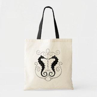 Vintage Black Seahorses Tote Bag